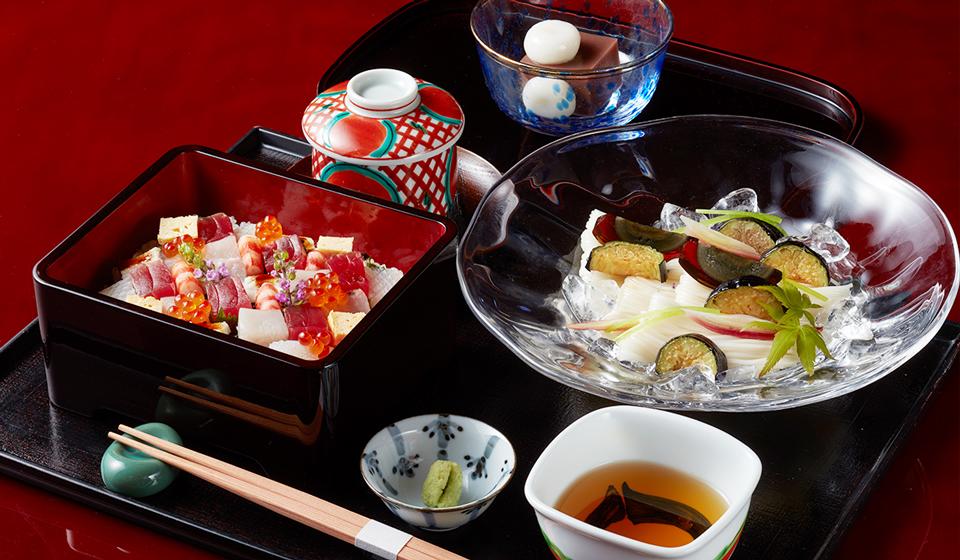 【平日20食限定】揚げ茄子素麺と海鮮ばらちらし