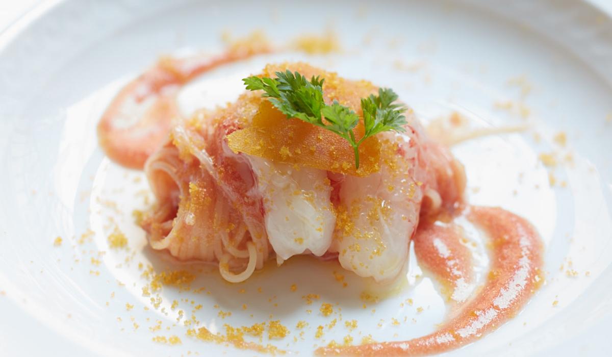 縞海老とカラスミの冷製カッペリーニ