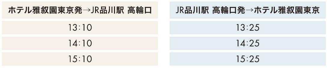 JR 品川駅 高輪口 無料バス時刻表